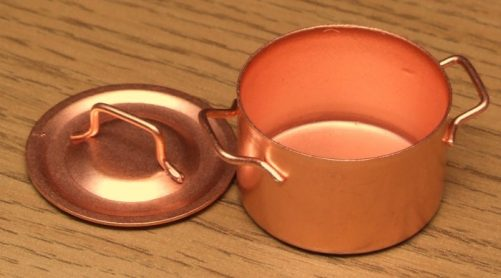 Dolls house copper cooking pan with lid off