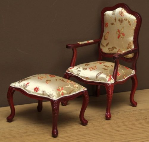 Dolls house finely carved chair and stool
