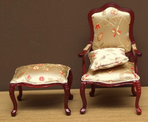 Dolls house carved chair stool and cushion