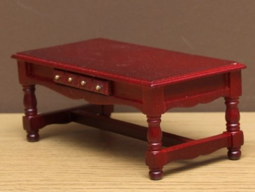 Dolls house coffee table side view