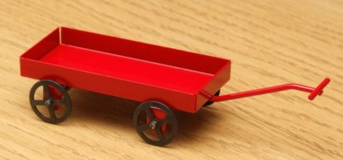 Dolls house red toy cart