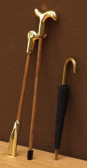 Dolls house shoe horn, walking stick and umbrella