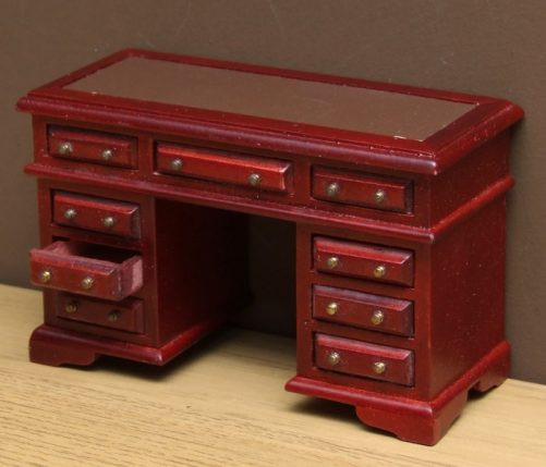 Dolls house writing desk with leather top