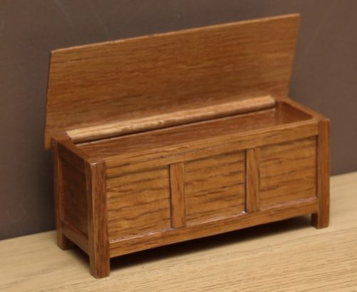 Dolls house oak chest with open lid