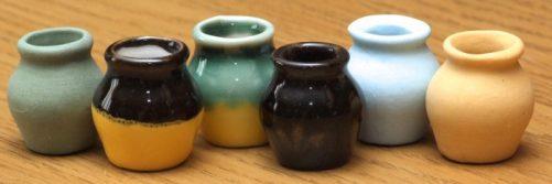 6 dolls house storage jars