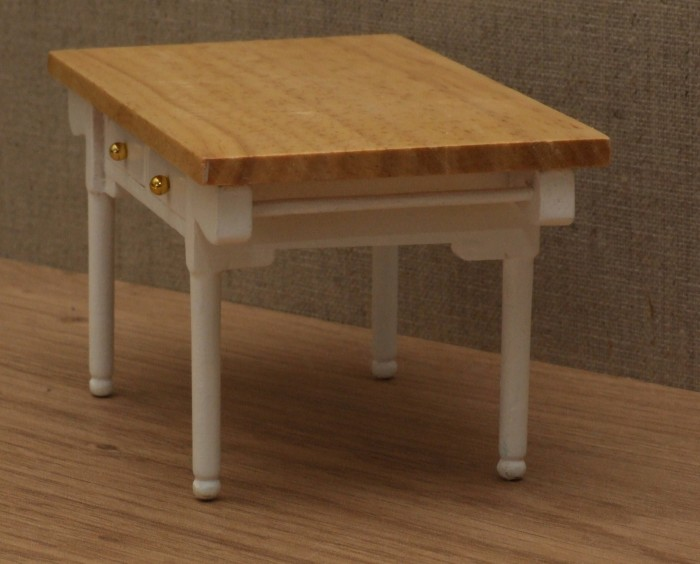 Dolls House Miniature 2 Drawer Kitchen Table White Wooden House Miniatures