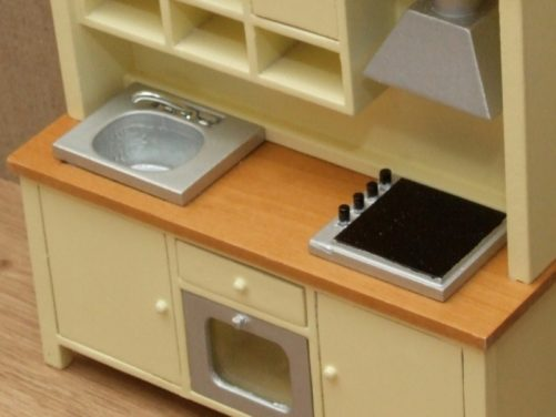 Dolls house sink, hob and oven