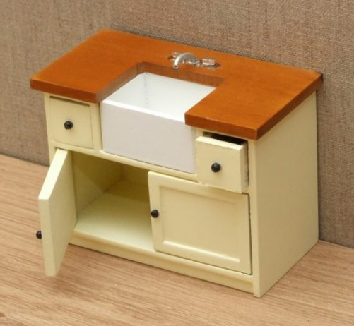 Dolls house sink with cupboards