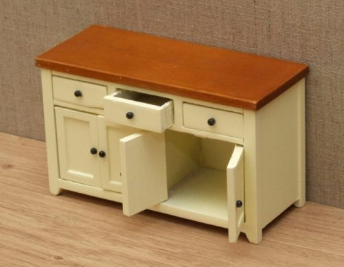 Dolls house sideboard with opening drawers and doors