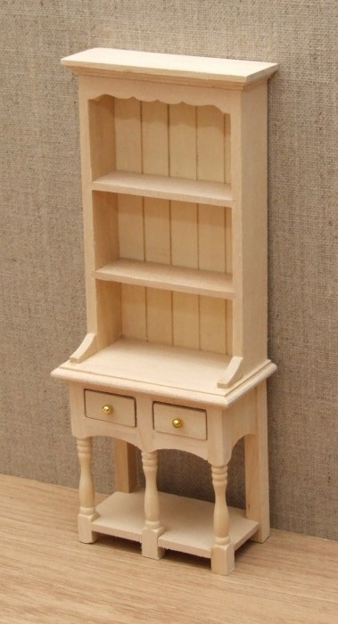 Two draw bare wood dolls house dresser