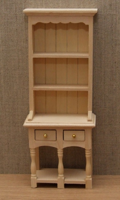 Bare wood two draw dolls house dresser