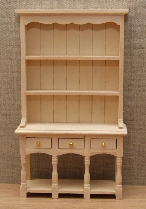 Bare wood three draw dolls house dresser