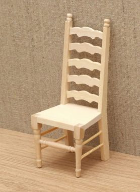 Bare wood dolls house ladder back chair