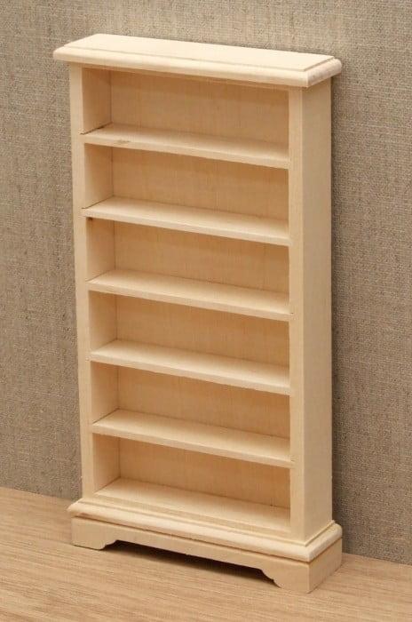 Bare wood dolls house bookcase