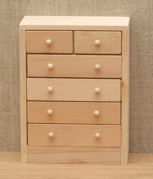 Bare wood dolls house chest of drawers