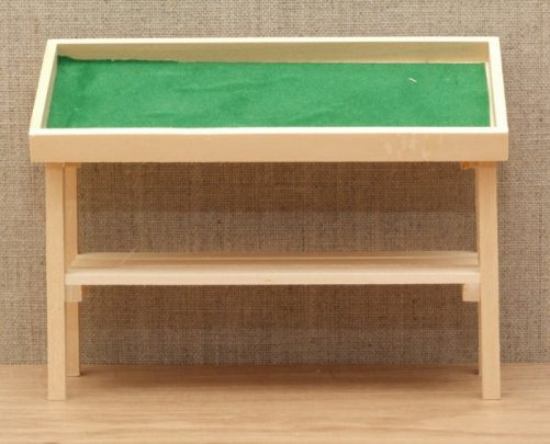 Bare wood dolls house market stall table