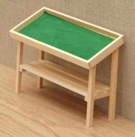 Bare wood dolls house stall table