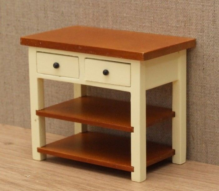 cream shaker style kitchen side table wooden house miniatures