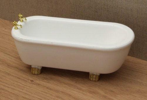 Dolls house bath with gold feet