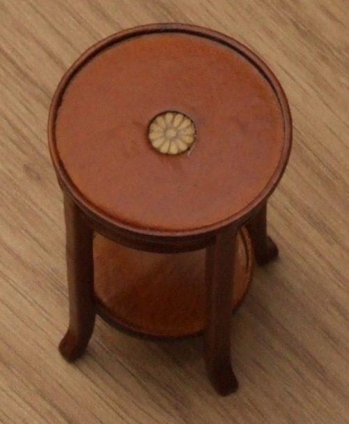 Inlaid flower on dolls house plant stand
