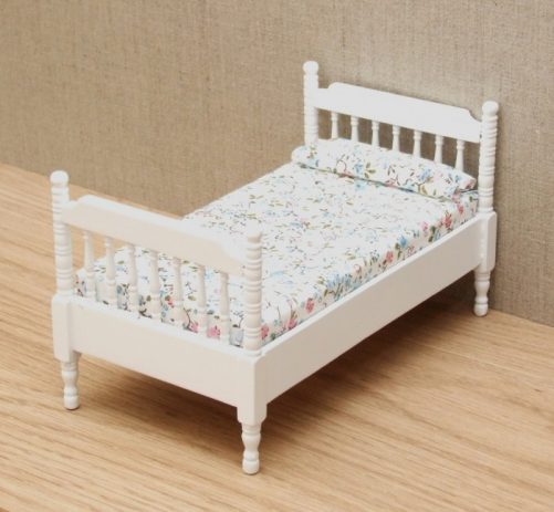 White dolls house single bed