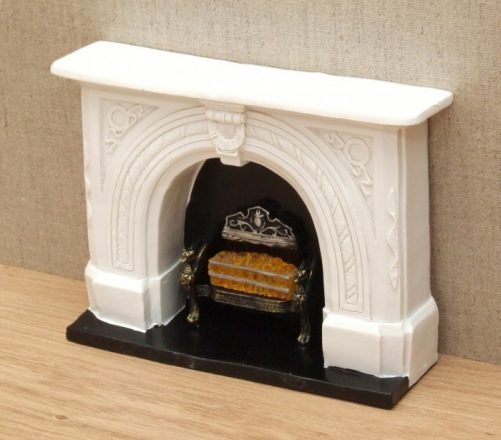 Carved stone dolls house fireplace