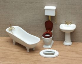 Dolls house classic bathroom set