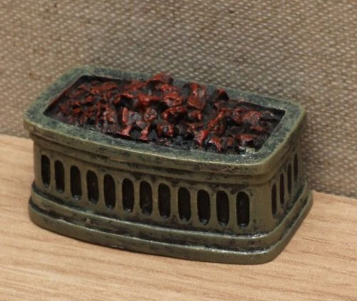Bowed dolls house fire grate