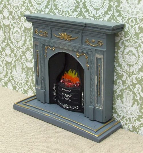 Dolls house grey and gold fireplace