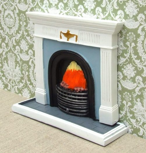 Dolls house fireplace with hearth