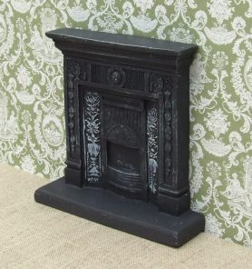 Dolls house black Victorian Fireplace