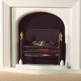 Dolls house lit fire basket with gold detail