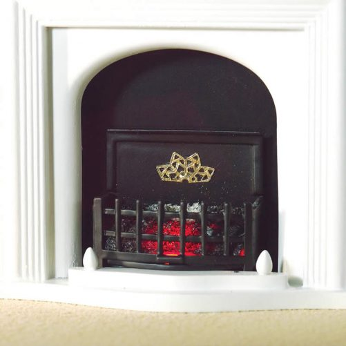 Dolls house lit fire basket with curved front