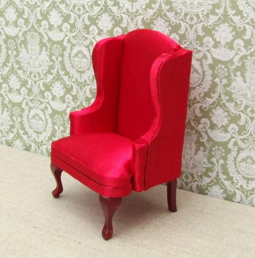 Red dolls house high back chair