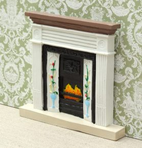White victorian dolls house fireplace