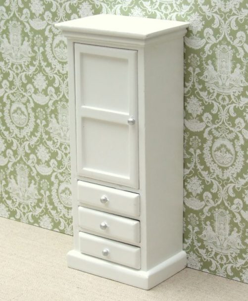 White dolls house bedroom cupboard