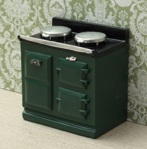 Green dolls house aga style stove